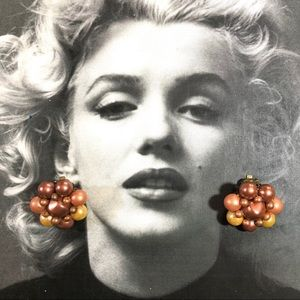 Vintage multi-brown pearl 60's clip earrings